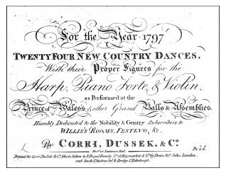 Jane, aged 21, visited Bath for the first time in 1797. She may have danced Captain Cook's Country Dance from Corri, Dussek & Co's Twenty-four New Country Dances for the Year 1797.