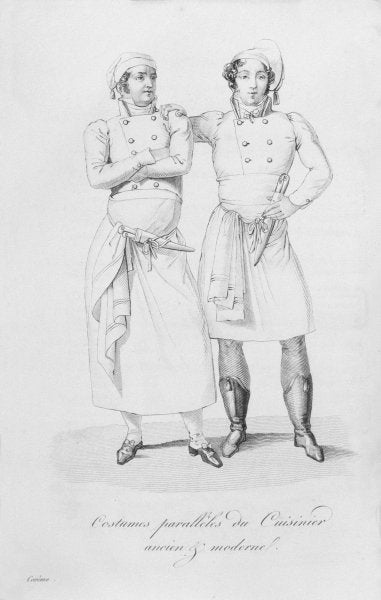 Costumes of cooks from different eras, from 'Le Maitre d'Hotel francais' by Marie Antoine Careme, published in 1822 (engraving) by Marie Antoine Careme