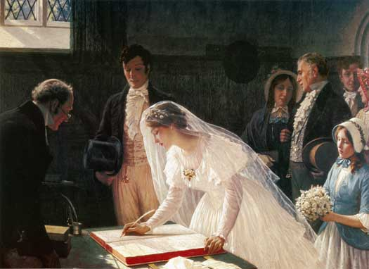 Edmund Blair Leighton, Signing the Register, 1920.