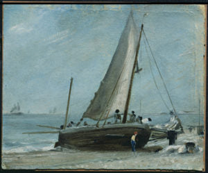 JConstable Brighton Beach w fishing boat and crew c 1824-28 c. Victoria and Albert Museum, London.jpg