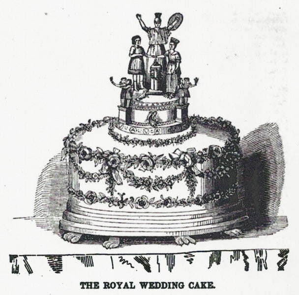 A period depiction of Queen Victoria's wedding cake.
