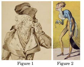 Left: Detail of Les Deux Incroyables, Antoine Charles Horace Vernet, ink and wash, 1794. Right: