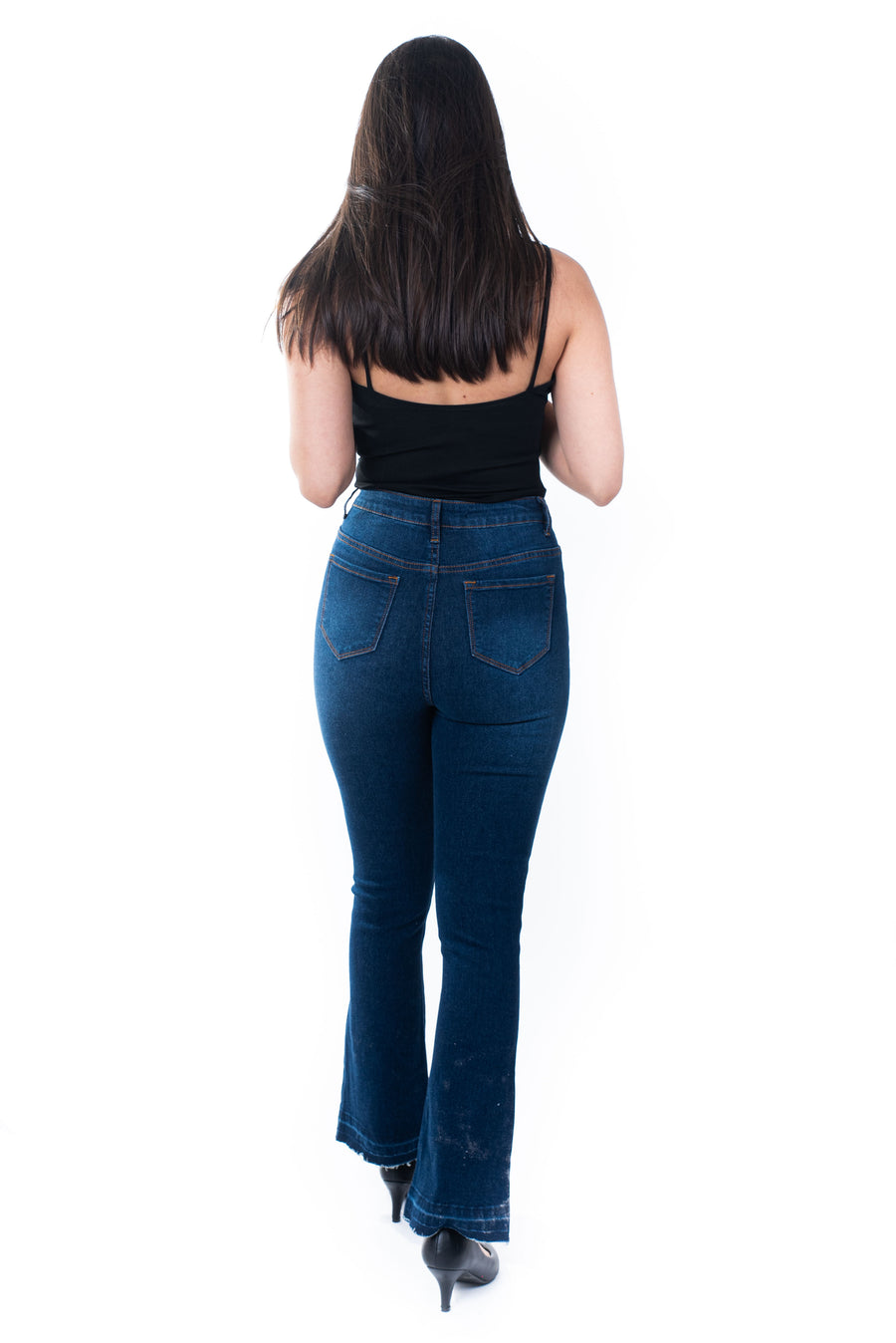 Le jeans taille haute à patte éléphant/ High-waisted jeans with elephant placket