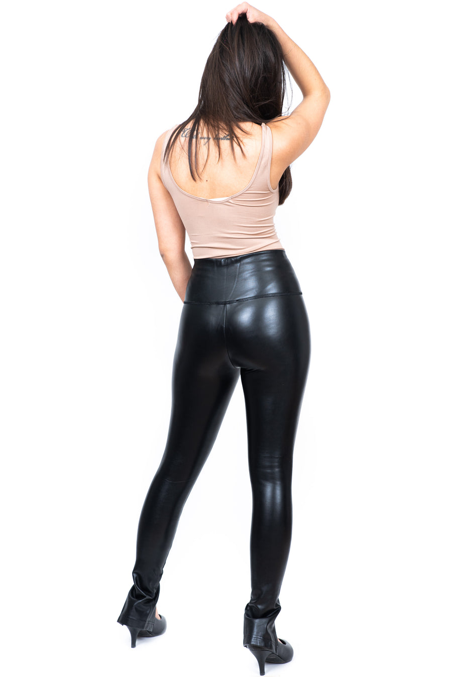 Le pantalon faux cuir fendu devant / Slit front faux leather pants