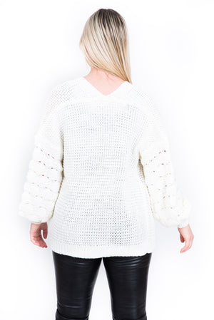 Le cardigan tricot manches boules/ Ball-sleeve knit cardigan