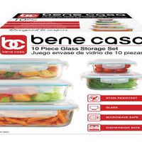 10pc Glass Storage (5 Set), ENVACE DE CRISTAL PARA ALIMENTOS