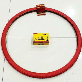 26X1 3/8 TIRE (37-509)ONE  HIGH QUALITY RED STREET TIRES AND ONE INNER TUBE