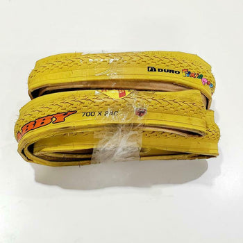 700X24C(24-622) TIRE TWO HIGH QUALITY YELLOW FOLDING BICYCLE TIRES STREET TIRES