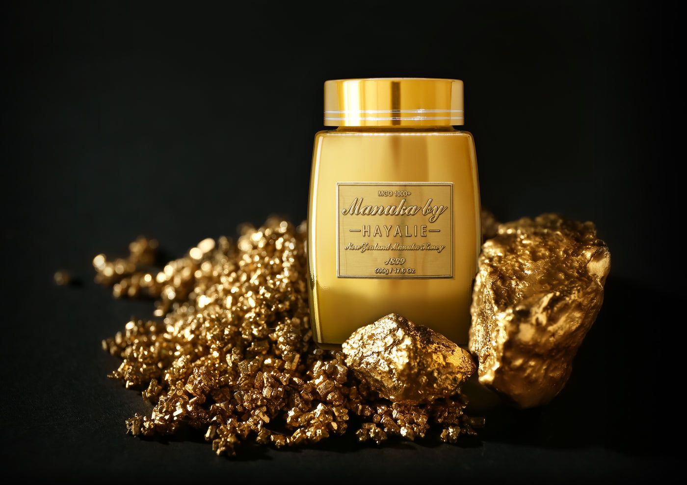 ali hayalie gold jar with gold nuggets