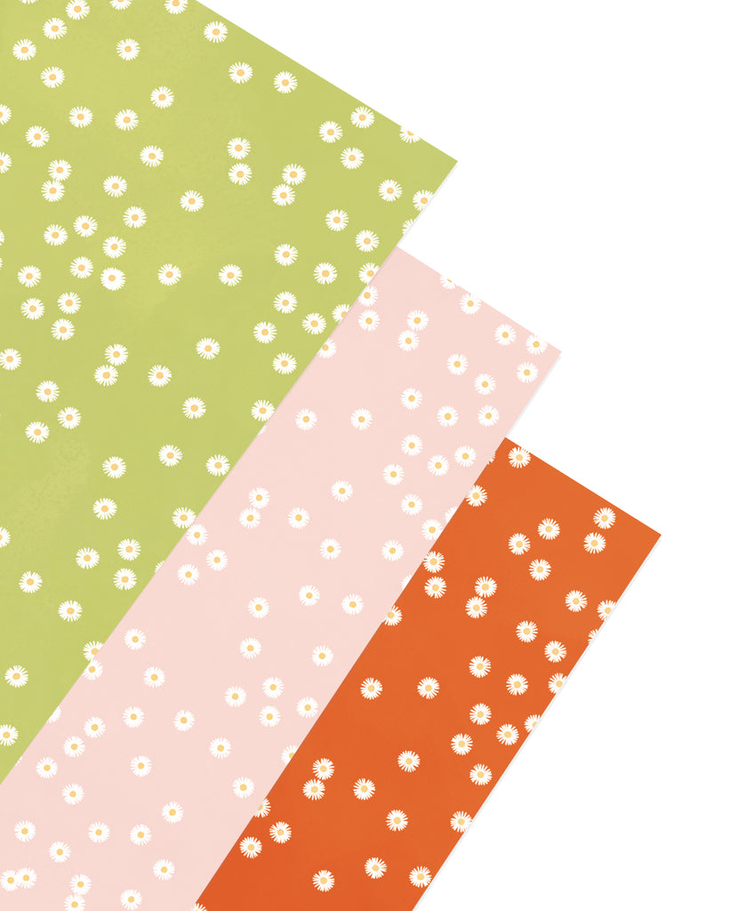 Three sheets of Adelfi gift wrap, each with daisies on a green, pink, and orange background.