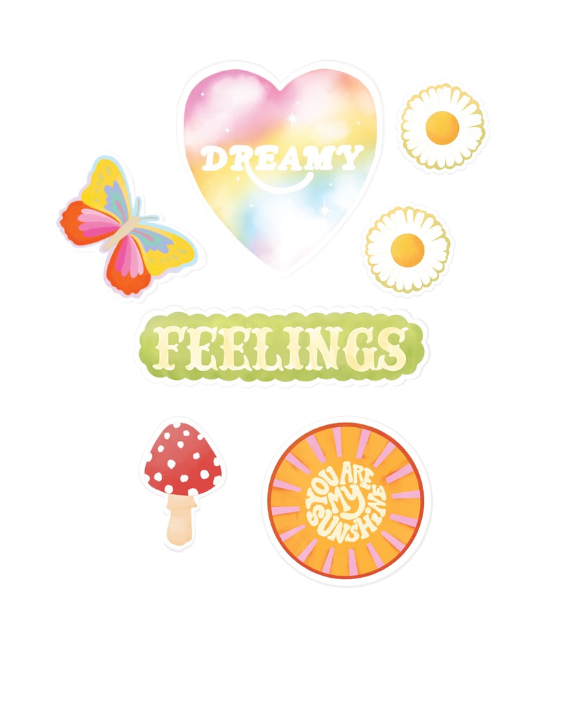 6 new Adelfi stickers: colorful butterfly, the word 'Feelings' in all caps, two daisies, the words 'you are my sunshine' in a sun, red mushroom, and the word 'Dreamy' in a heart