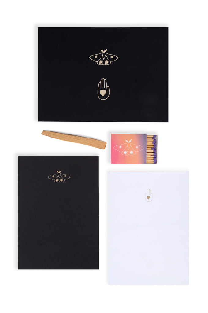 Release and Manifest Kit Contents Layout (notebooks, matches, palo santo)