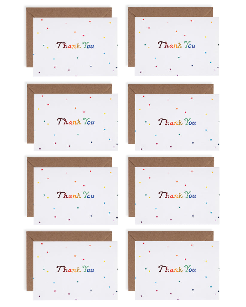 Rainbow Stars Thank You Card Set