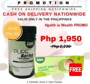 SANTE PURE BARLEY CANISTER + 1 BOX FUSION COFFEE FREE