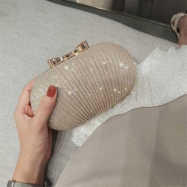 Clutch Bridal Metal Bow Shiny Handbags