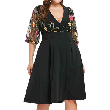 Casual Floral Short Sleeve Women Applique Dress