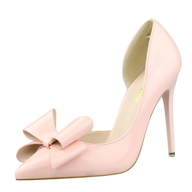 Hollow Pointed Sweet Bowknot High Heel