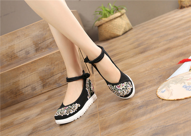 Vintage Women Canvas Increasing Height Ankle Strap Heels