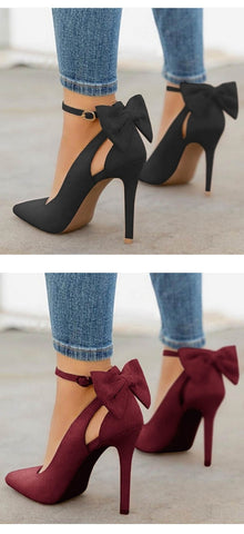 Pointed Toe Buckle Strap Butterfly High Heels