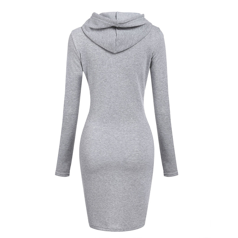 Casual Warm Hooded Long Sleeved Dress