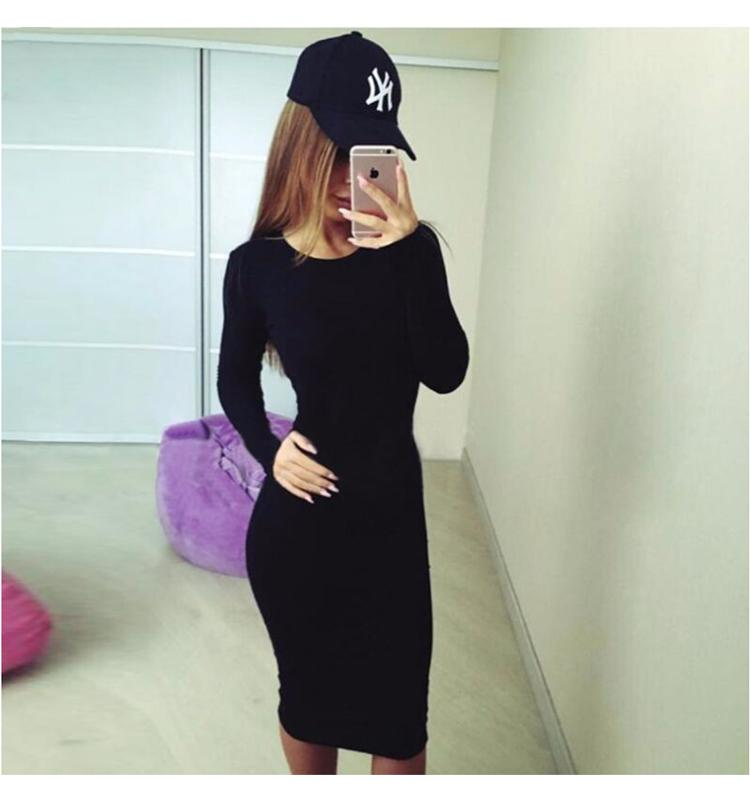 Casual Slim Bodycon Tunic Crew Neck Dress