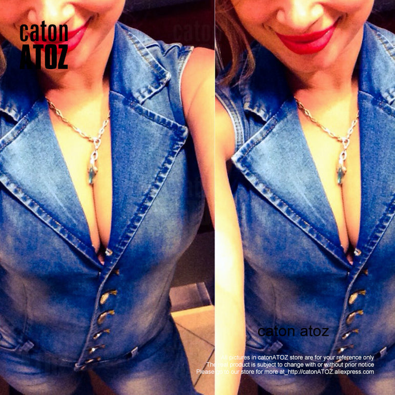 Denim Bodysuit Sleeveless Jumpsuit