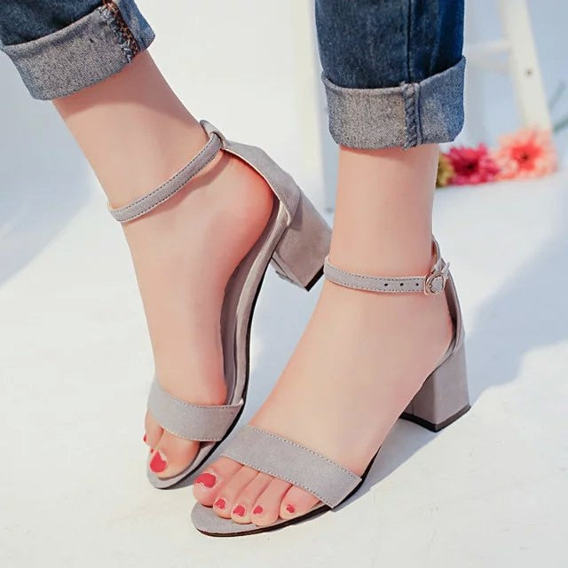Square Woman Buckle Fish Mouth High Heel Sandals