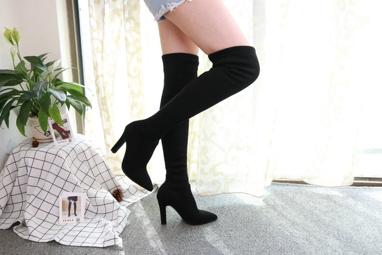 Slip on Over The Knee Thin High Heel Pointed Toe Boots