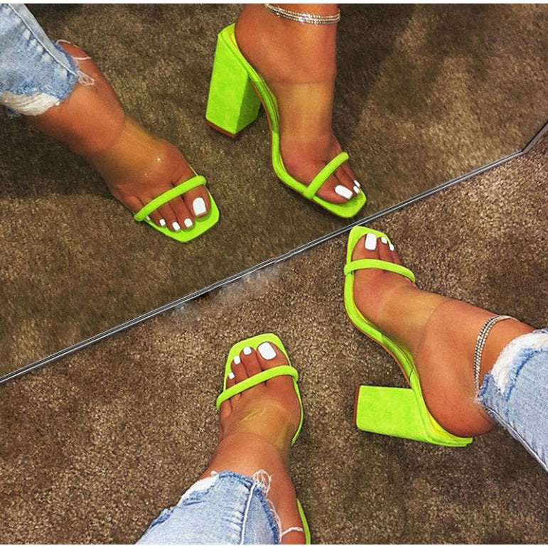 Thick Heel Women Transparent Sandals