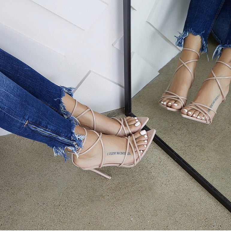 Super Thin Ankle Strap High Heels Women Sandals