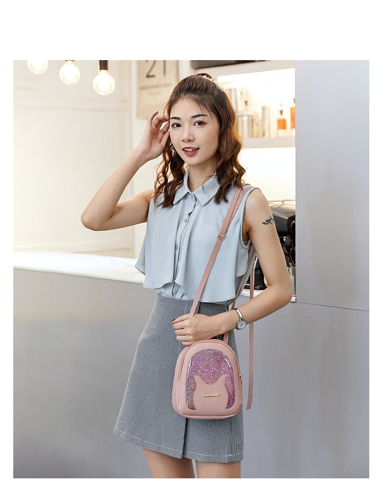 Mini Soft Leather Multi-Function Women Backpack