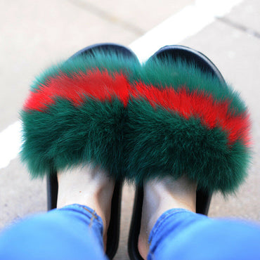 Real Fur Slides Female Indoor Women Fox Fur Slippers