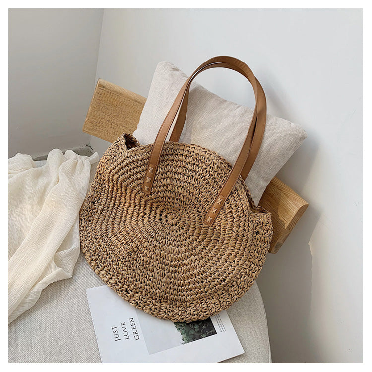 Casual Rattan Women Shoulder Circle Straw Handbags