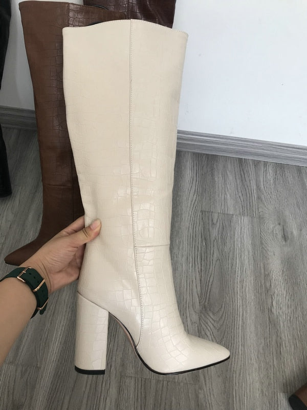 Leather Faux Pointed Toe Knee Chunky High Boots