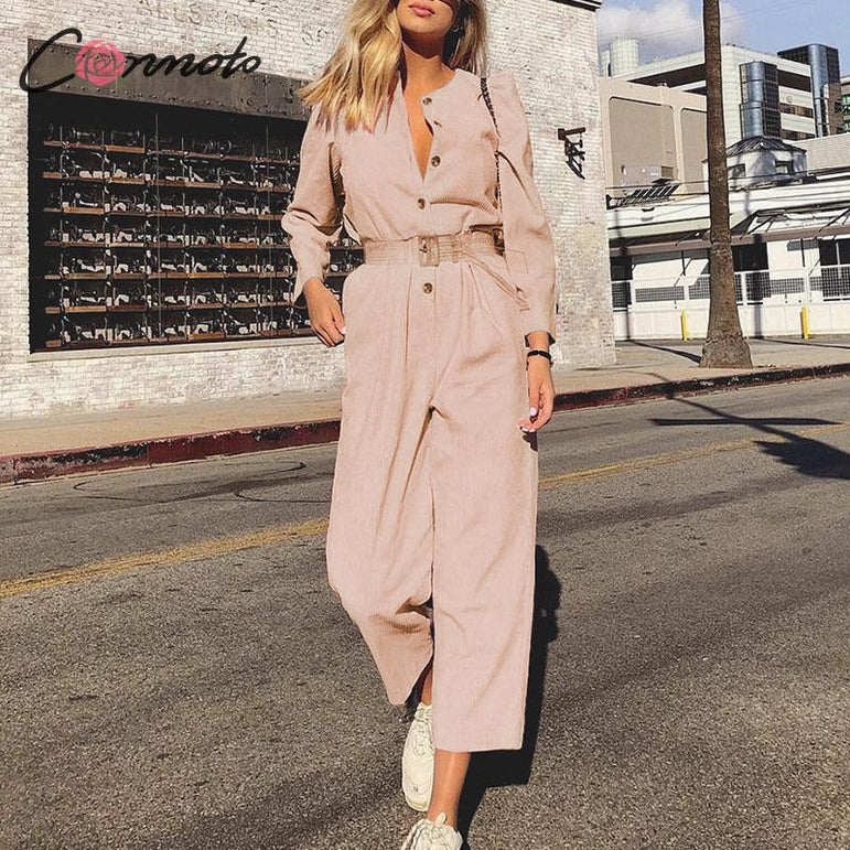Casual Overalls Corduroy Light Pink Jumpsuits