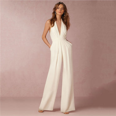 Chic Women Long Wide Leg Jumpsuit
