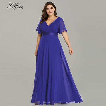 Elegant V Neck Chiffon Party Dress