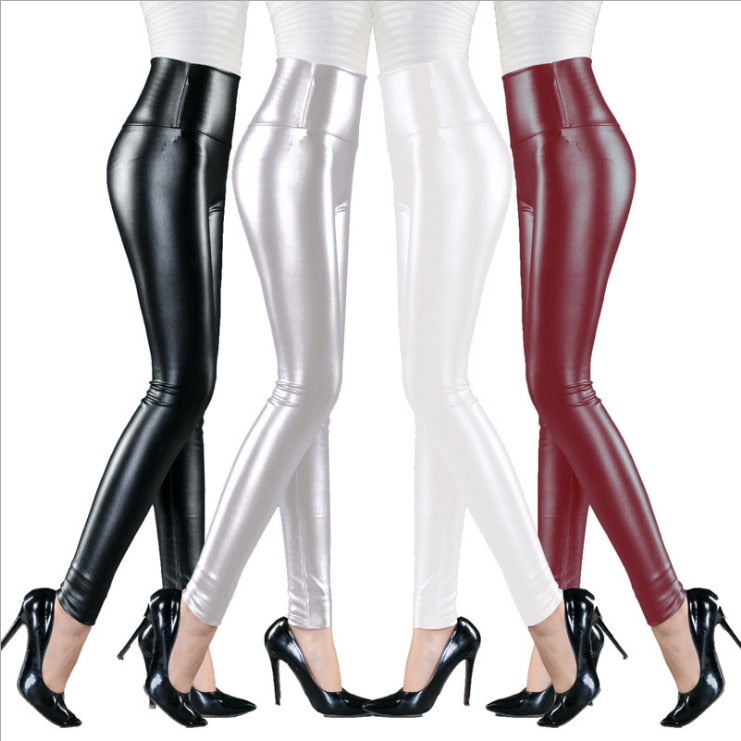 High Elastic Waist Leather Pants