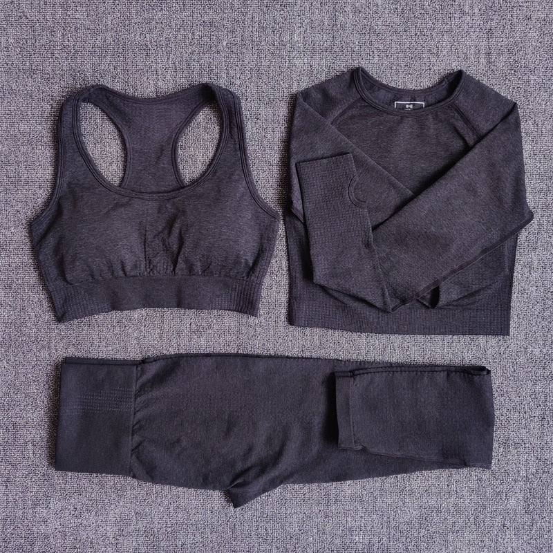 High Waist Long Sleeve Crop Top Seamless Yoga Set