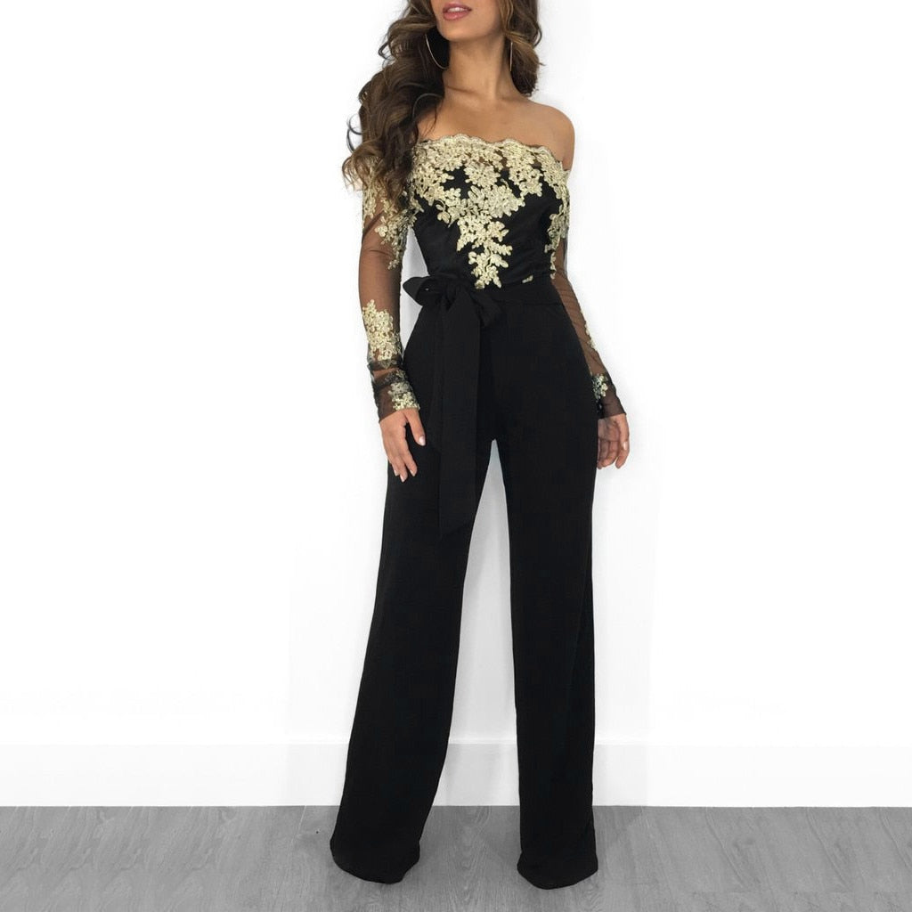 Casual Lace Up Wide Leg Romper Jumpsuit