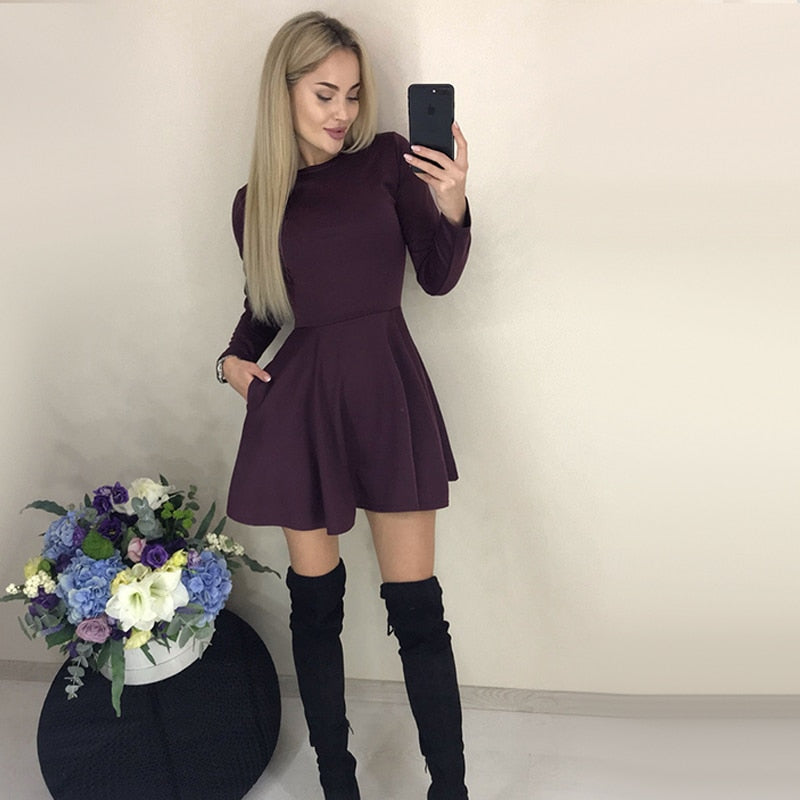 Elegant Long Sleeve Office Work ALine Party Dress