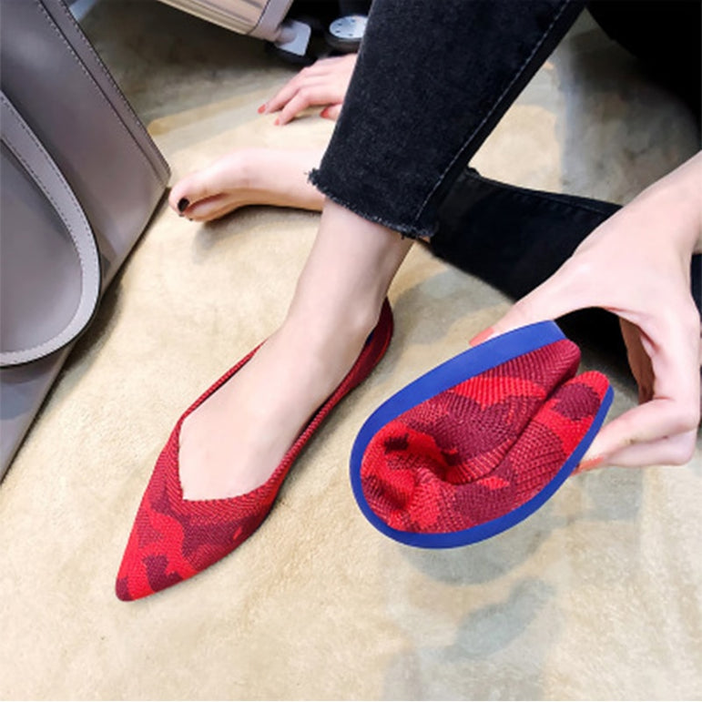 Pointed Flat Breathable Knit Shoes