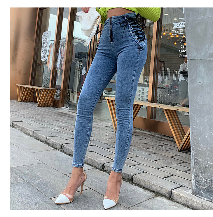 High Waist Hips Tight Jeans Slim Pants