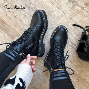 Lace Up Vintage Winter Ankle Booties