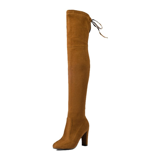 Thigh Over The Knee Elastic High Heel Boots