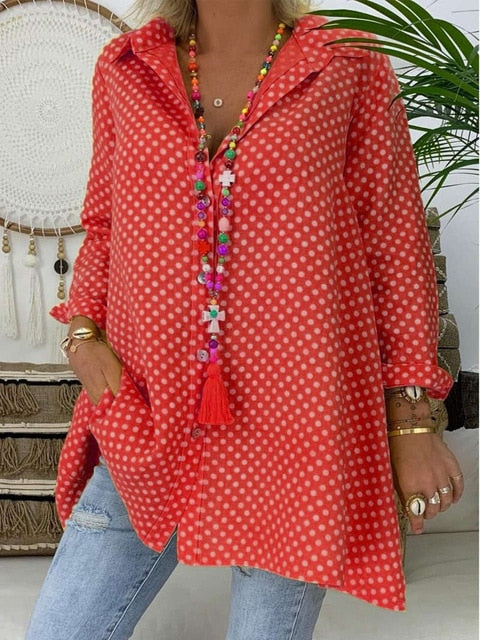 Long Sleeve Polka Dot Shirt Tops