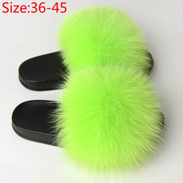 Furry Plush Fox Hair Women Fur Fluffy Flat Home Slippers