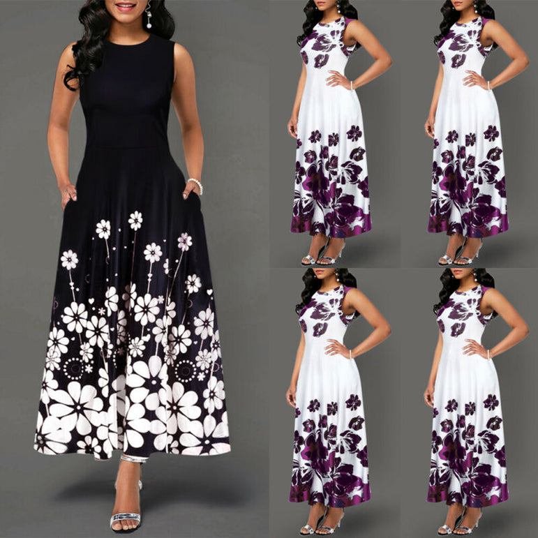 Elegant Women's Floral Print Long Maxi Dress