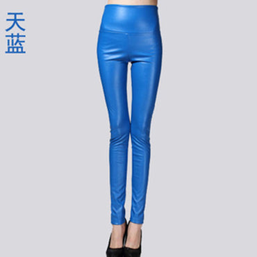 Leather Thin Velvet Elastic Stretch Pants