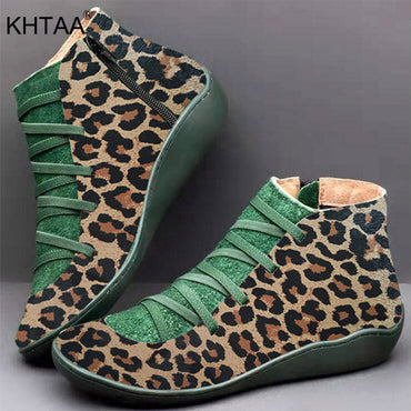 Leopard Leather Women Ankle Boots